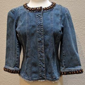 Nine West jean jacket with beaded trim. Sz M